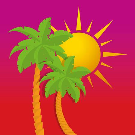 summer palms tree icon vector illustration graphic design