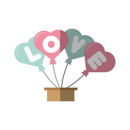 love card hearts balloons hang with basket vector illustration eps 10