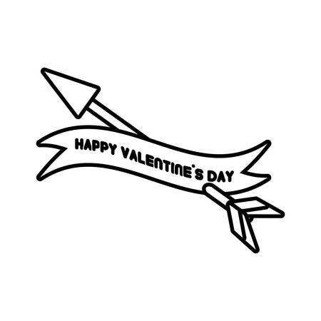 happy valentines day card heart arrow outline vector illustration eps 10 Illustration