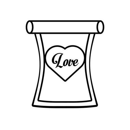 scribe: love parchment message heart outline vector illustration eps 10 Illustration