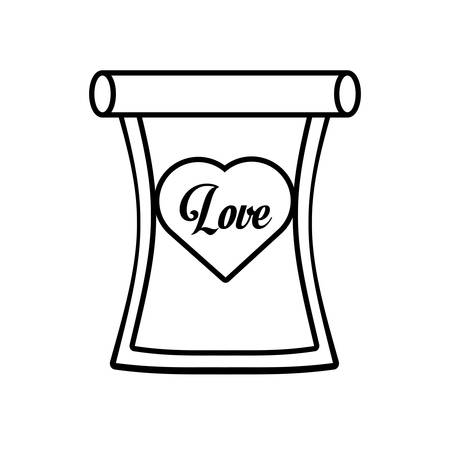 love parchment message heart outline vector illustration eps 10 Illustration