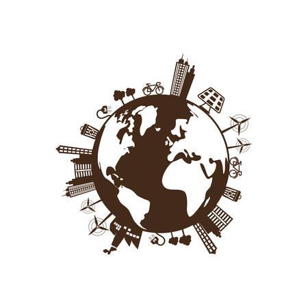 Eco green city icon vector illustration graphic design Illustration