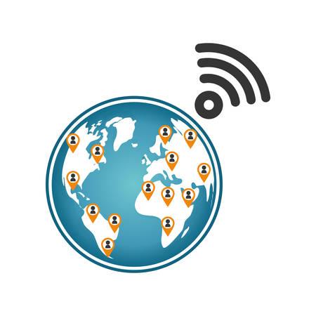 World internet connection icon vector illustration graphic design