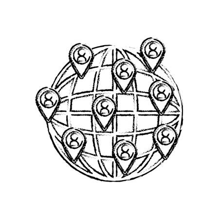 socializando: World networking connection icon vector illustration graphic design Vectores