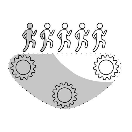 workforce: people and gears icon over white background. teamwork concept. vector illustration