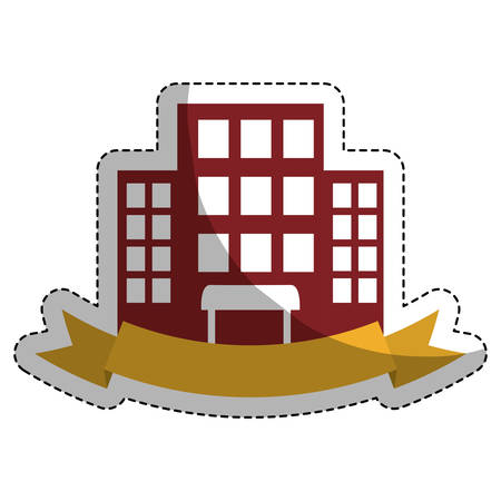 sticker of hotel building icon with decorative ribbon over white background. colorful design. vector illustration