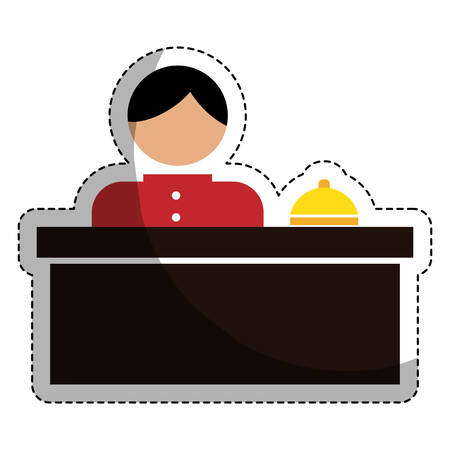 hotel reception with bellboy icon over white background. colorful design. hotel services concept. vector illustration