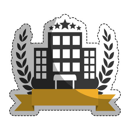 sticker of decorative wreath of leaves and ribbon with hotel building icon over white background.  vector illustration