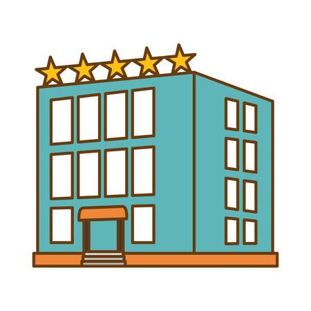 hotel building icon over white background. colorful design. vector illustration Illustration