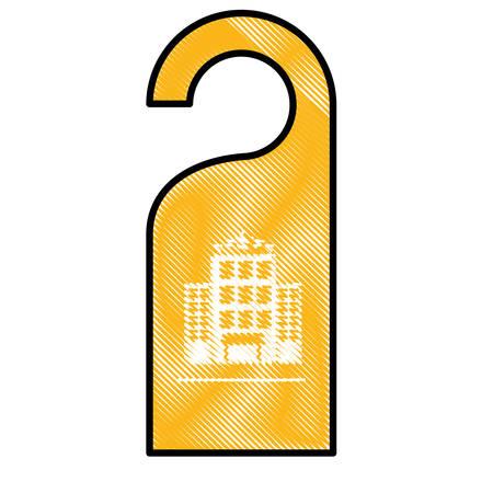door hanger icon over white background. hotel service concept. colorful design. vector illustration Illustration