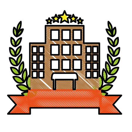 decorative wreath of leaves and ribbon with hotel building icon over white background. colorful design. vector illustration Illustration