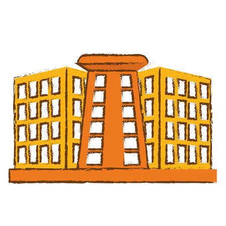 hotel building icon over white background. colorful design. vector illustration Illustration