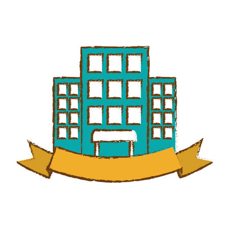 hotel building icon with decorative ribbon over white background. colorful design. vector illustration