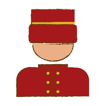 reservations: bellhop man icon over white background. hotel services concept. colorful design. vector illustration