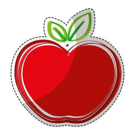 sticker of red apple fruit icon over white background. colorful design. vector illustration Illustration