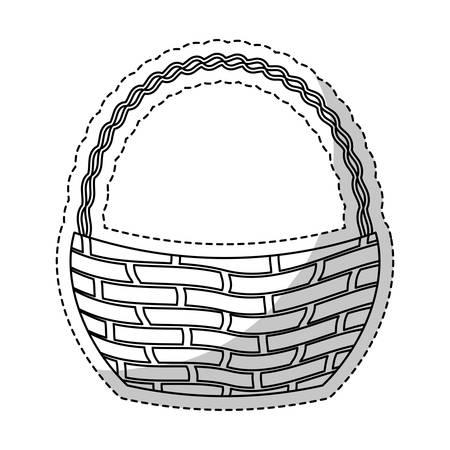 wickerwork: wicker basket icon over white background. vector illustration