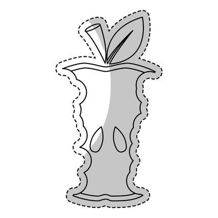 eaten: eaten apple fruit icon over white background. vector illustration