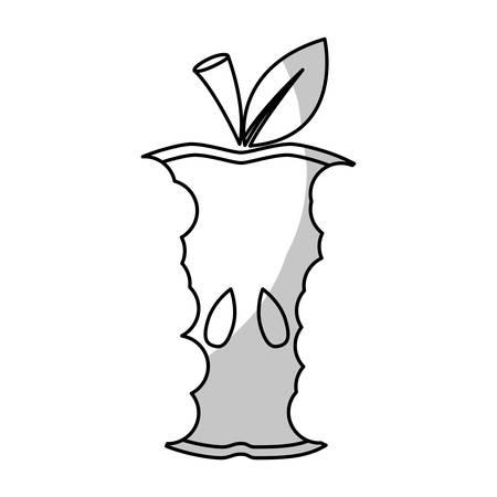 eaten apple fruit icon over white background. vector illustration