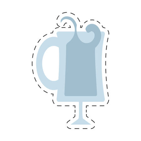glass cup handle alcohol drink cut line vector illustration eps 10