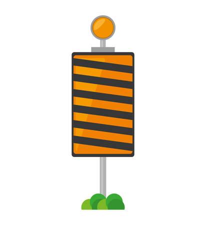 roadblock: roadblock traffic light warning with grass vector illustration eps 10
