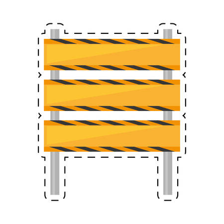 barricade construction traffic caution cut line vector illustration eps 10