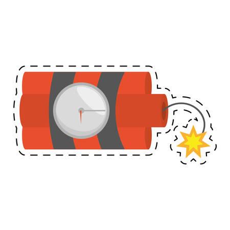 nitro: dynamite sticks mining tnt clock fire cut line vector illustration esp 10