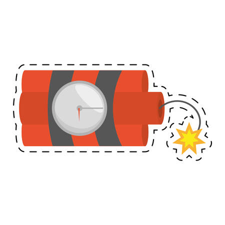 dynamite sticks mining tnt clock fire cut line vector illustration esp 10
