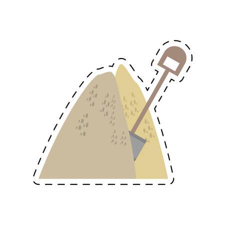 wydobycie kopaliny piasek kupa łopata linia wektor ilustracja eps 10