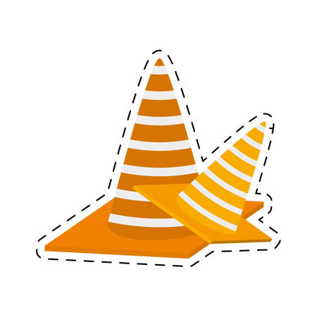 construction cone with stripes cut line vector illustration eps 10 Illustration