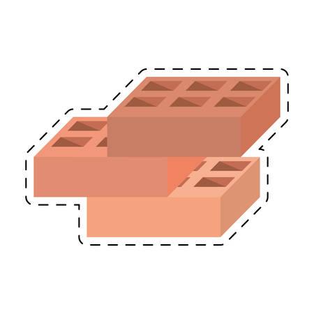 blocks brick construction tool design cut line vector illustration eps 10 Illustration