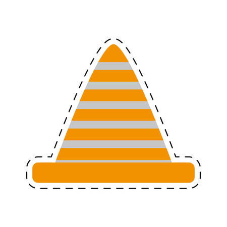 cut line: traffic cone caution sign cut line vector illustration eps 10 Illustration