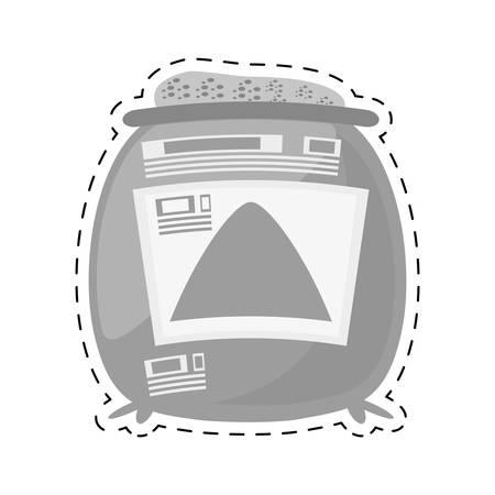 concrete block: sack concrete construction tool cut line vector illustration eps 10