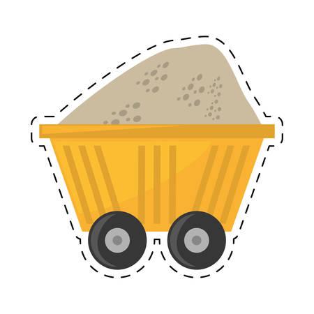 calorific: cart train mining full mineral cut line vector illustration eps 10 Illustration