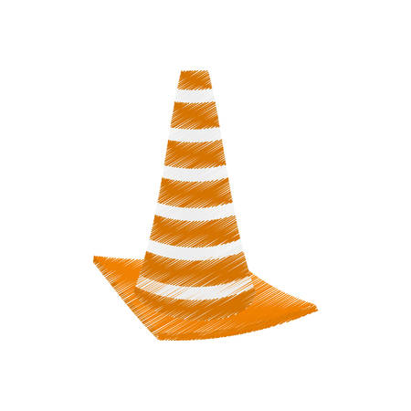 drawing construction cone with stripes vector illustration eps 10 Illustration