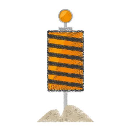 roadblock: drawing roadblock traffic light warning sand vector illustration eps 10