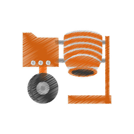 electrically: drawingcement mixing machine wheel vector illustration eps 10