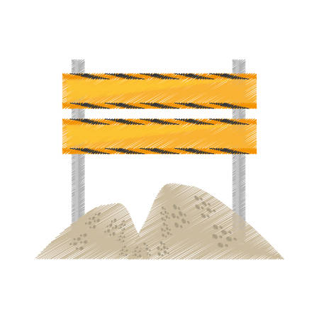 drawing barrier under construction road sand vector illustration eps 10