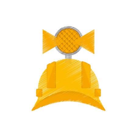 labourer: drawing helmet mining light protection vector illustration eps 10 Illustration