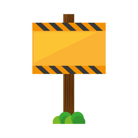 traffic pole: sign road rectangle caution yellow empty vector illustration eps 10