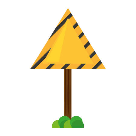 sign road triangle caution yellow empty with grass vector illustration eps 10