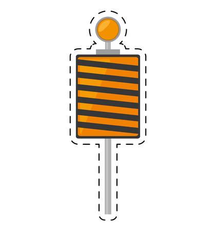 omitted: roadblock traffic light warning cut line vector illustration eps 10