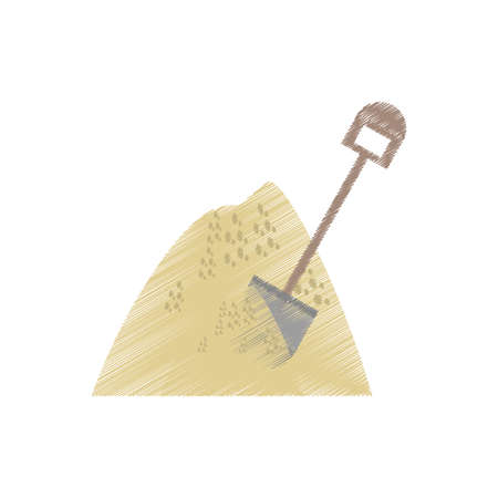 mineral: drawing mining mineral sand pile shovel vector illustration eps 10