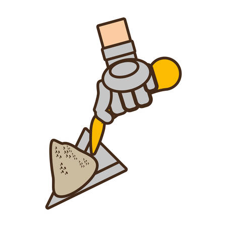 cartoon spatula tool construction glove handle vector illustration eps 10