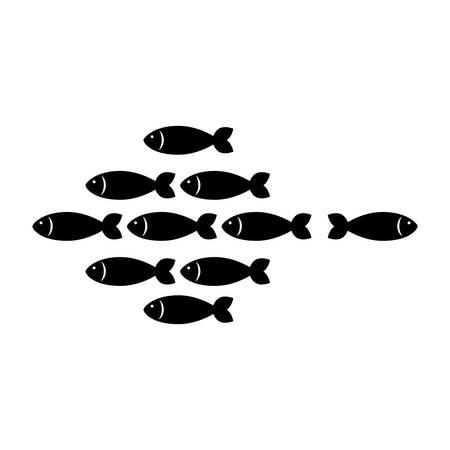 shoal: fish shoal icon over white background. vector illustration
