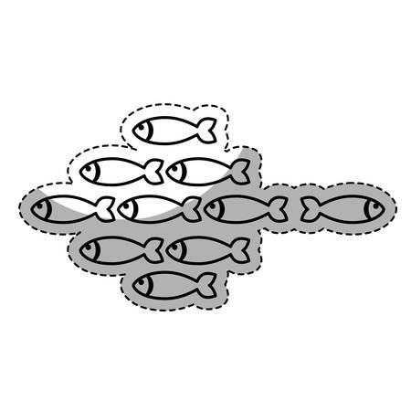fish shoal icon over white background. vector illustration