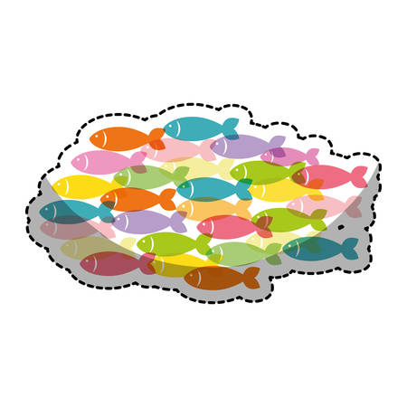 fish shoal icon over white background. colorful design. vector illustration Illustration