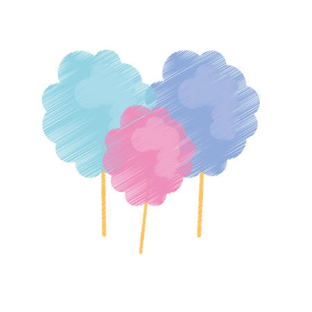 Sweet Cotton Candy icon over white background. colorful design. vector illustration Illustration