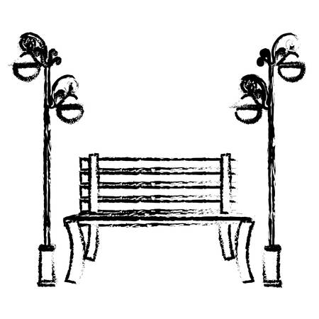 oudoors: oudoors bench and lamps icon image vector illustration design