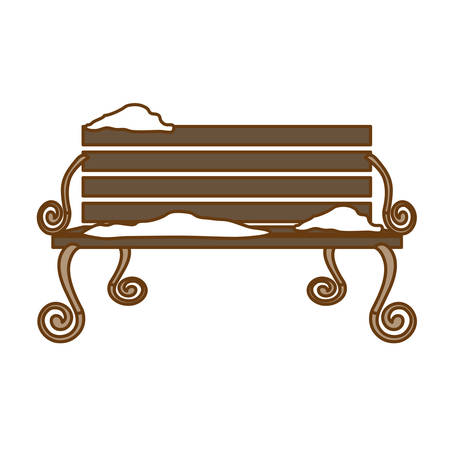 oudoors: oudoors bench with snow icon image vector illustration design