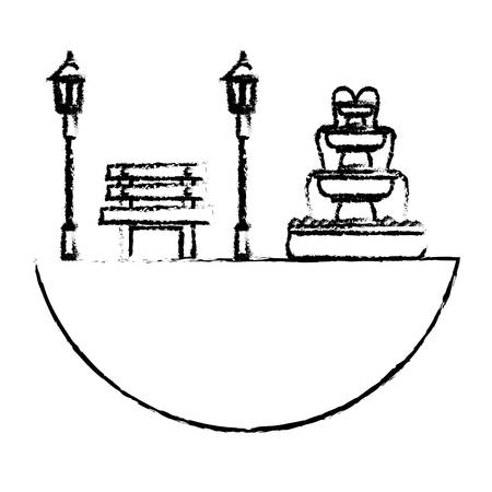 lawn chair: park with bench lamps and fountain icon image vector illustration design